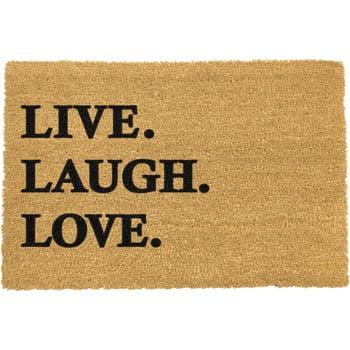 Covoraș intrare din fibre de cocos Artsy Doormats Live Laugh Love, 40 x 60 cm