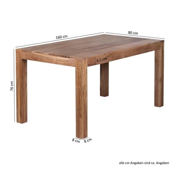 Jídelní stůl z masivního akáciového dřeva Skyport Alison, 160x80cm