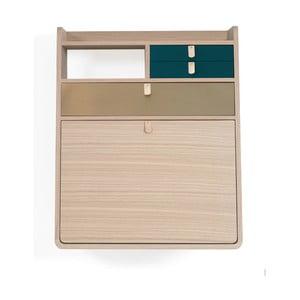Dulap de perete din lemn de stejar, sertare albastru petrol și maro, HARTÔ Gaston, lățime 60 cm