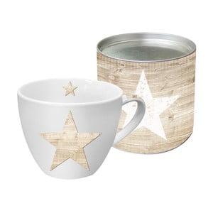Hrnek z kostního porcelánu s vánočním motivem v dárkovém balení PPD Star Fashion Wood, 450 ml