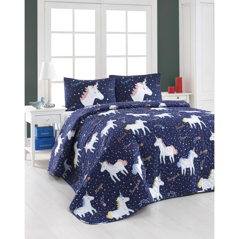Set prošívaného přehozu a 2 povlaků na polštáře Eponj Home Magic Unicorn Dark Blue, 200x220cm