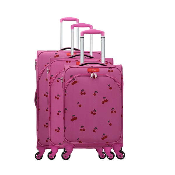 Set 3 trolere cu 4 roți Lollipops Cherry, roz