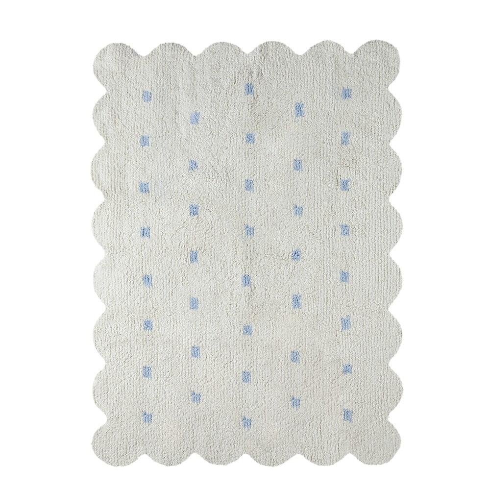 Bílomodrý oboustranný bavlněný ručně vyráběný koberec Lorena Canals Biscuit, 120 x 160 cm