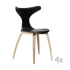 Sada 4 černých kožených jídelních židlí s přírodním podnožím DAN– FORM Dolphin