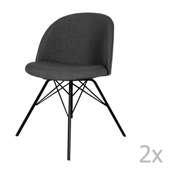 Set 2 scaune Tenzo Sofia Porgy, gri antracit