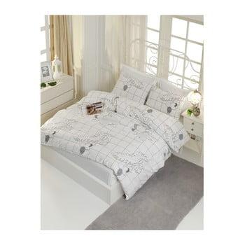 Lenjerie de pat cu cearșaf din bumbac ranforce, pentru pat dublu Mijolnir Cecile White, 160 x 220 cm de la Mijolnir