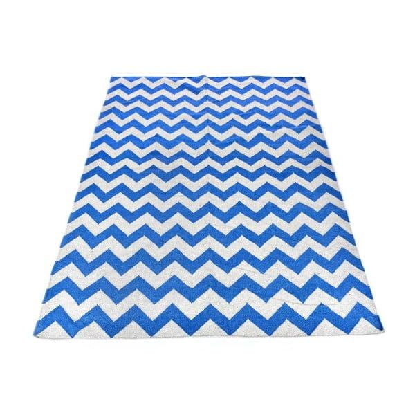 Vlněný koberec Geometry Zic Zac Sea Blue & White, 160x230 cm