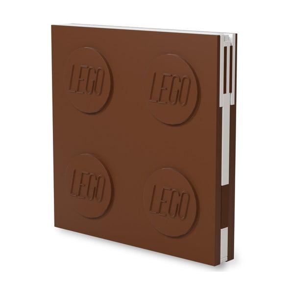 Jurnal pătrat cu pix cu gel LEGO®, 15,9 x 15,9 cm, maro