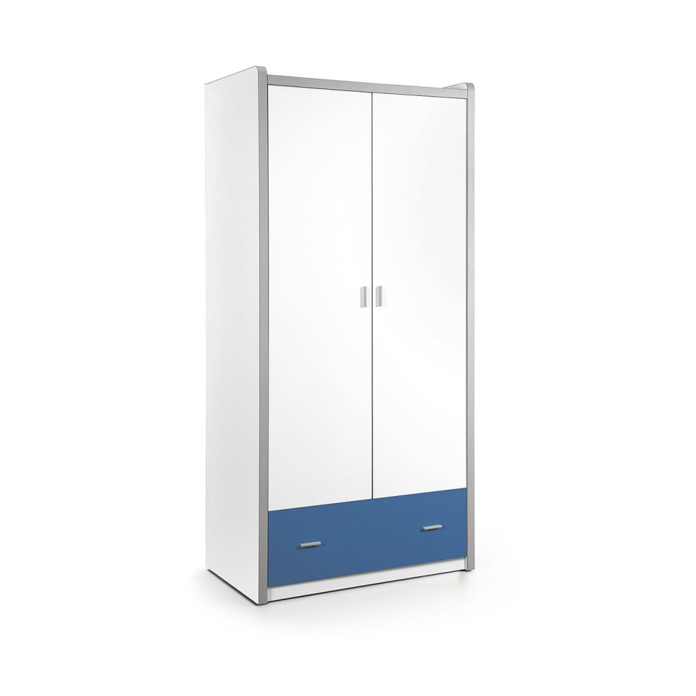 Bílo-modrá šatní skříň Vipack Bonny, 202 x 96,5 cm