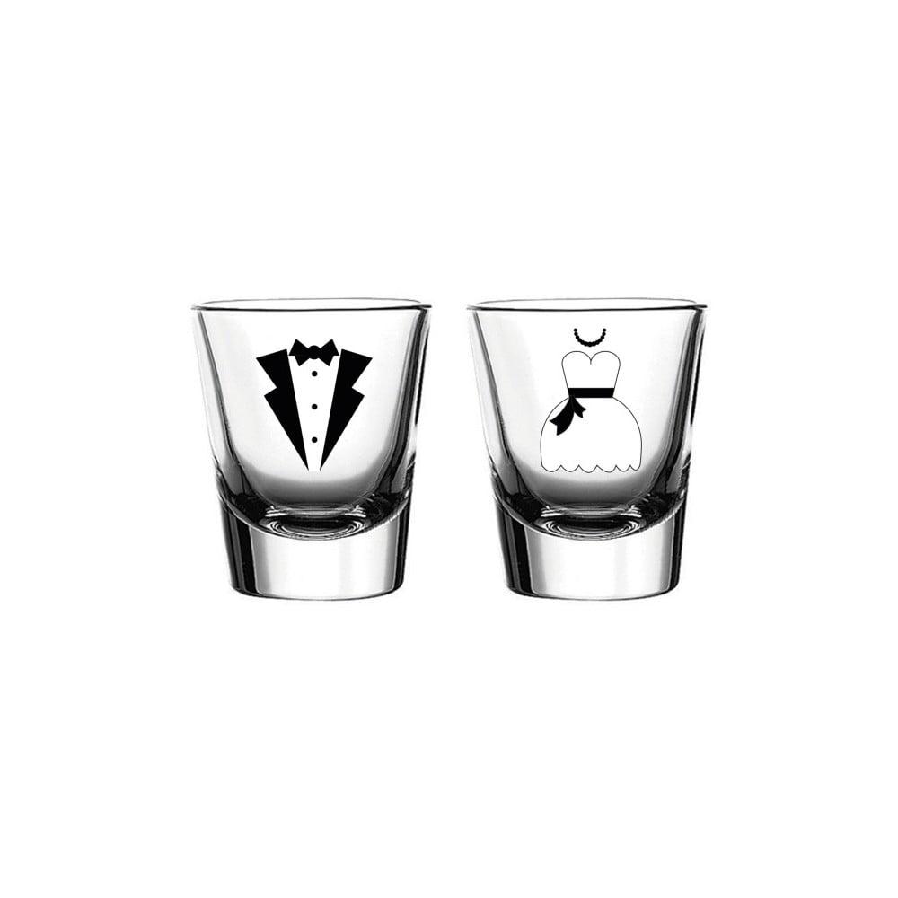 Sada 2 sklenic Vivas Shot Bride & Groom, 60 ml