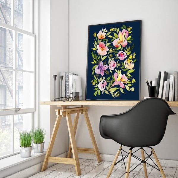 Plakát s fialovými květinami, 30 x 40 cm