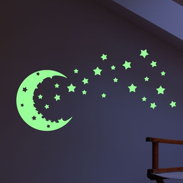Set autocolante fosforescente Ambiance Moon and Stars