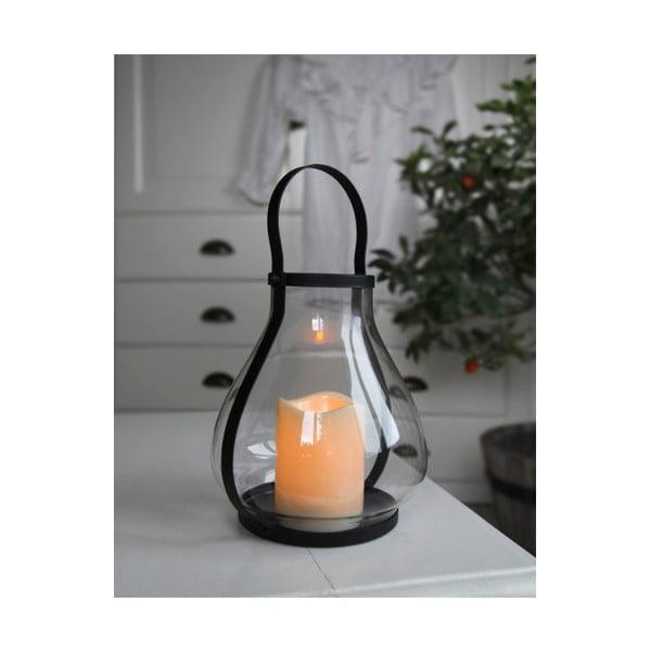 Skleněná LED lucerna s černým kováním Best Season
