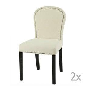 Sada 2 krémových jídelních židlí s tmavě hnědými nohami Artelore Lauren