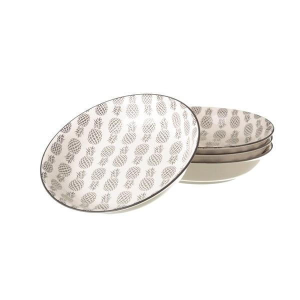 Šedobílý porcelánový hluboký talíř Unimasa Pinna