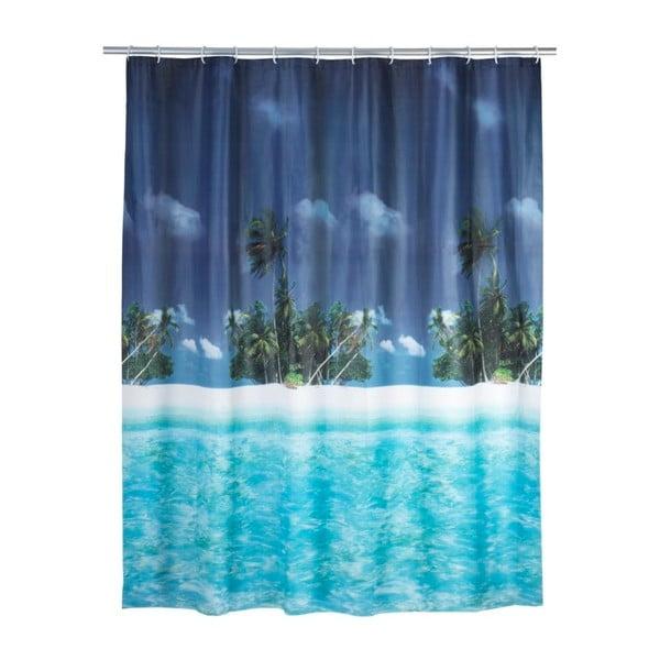 Modrý sprchový závěs Wenko Dreamy Beach, 180x200cm