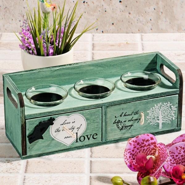 Dřevěný svícen s šuplíky Love