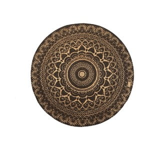 Koberec z juty Linen Couture Rug Circle Black, ⌀ 140 cm