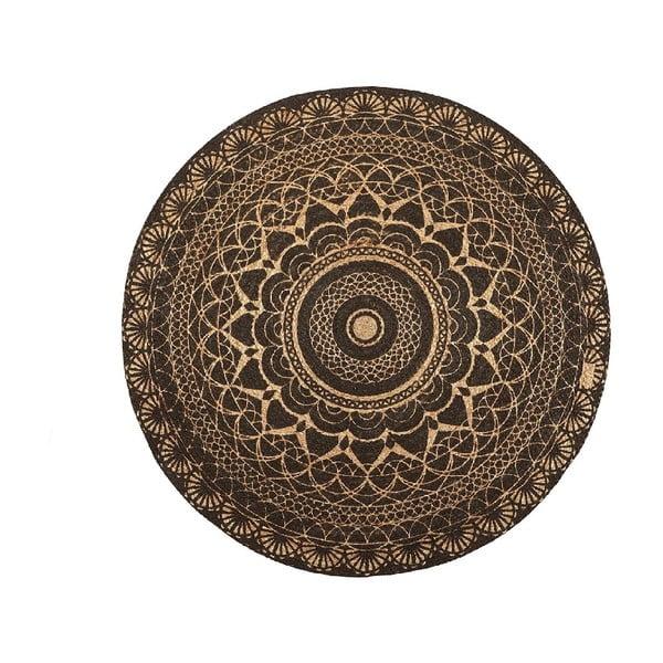 Koberec z juty Linen Rug Circle Black, ⌀ 140 cm