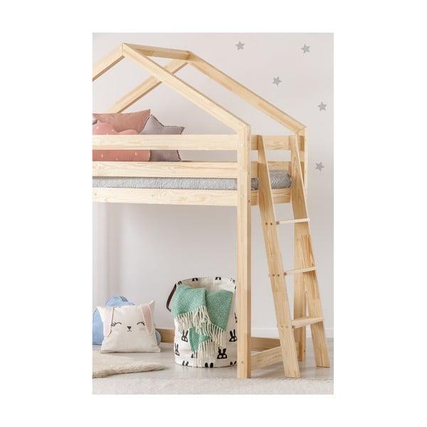 Cadru pat supraetajat din lemn de pin, în formă de căsuță Adeko Mila DMPBA, 90 x 190 cm