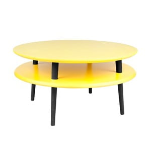 Žlutý konferenční stolek s černými nohami Ragaba UFO, Ø70cm