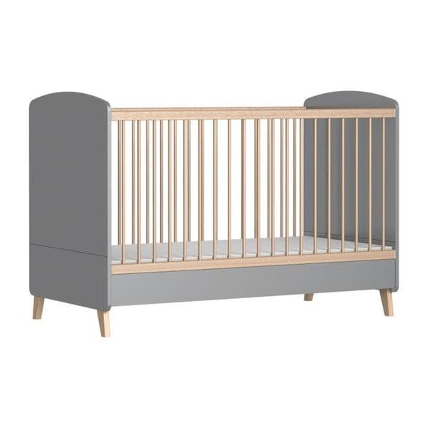 Pat variabil pentru copii cu bară protecție FAKTUM Colette, 70x140 cm, gri