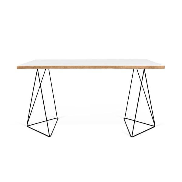 Bílý pracovní stůl s černými nohami TemaHome Flow