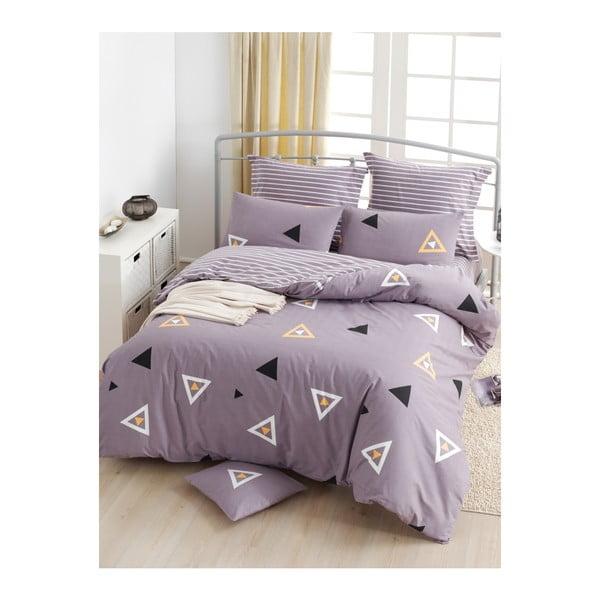 Lenjerie de pat cu cearșaf din bumbac ranforce, pentru pat dublu Mijolnir Erois Lilac, 200 x 220 cm
