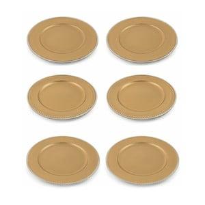 Sada 6 vánočních dekorativních plastových talířů ve zlaté barvě Villa d'Este XMAS Piatto Oro Bordo, ⌀ 33 cm