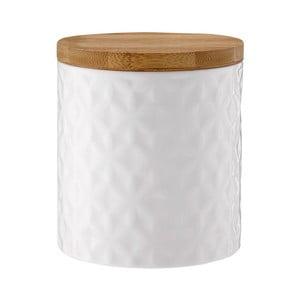 Bílá porcelánová dóza s bambusovým víkem Ladelle Halo Flower, výška 12cm