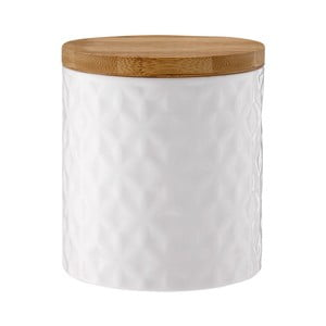 Recipient din porțelan cu capac de bambus Ladelle Halo Flower, înălțime 12 cm, alb