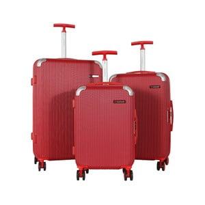 Sada 3 červených cestovních kufrů na kolečkách Travel World