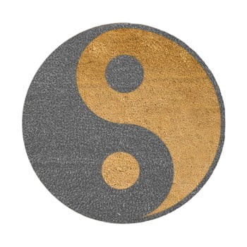 Covoraș intrare rotund fibre de cocos Artsy Doormats Grey Yin Yang, ⌀ 70 cm, gri imagine