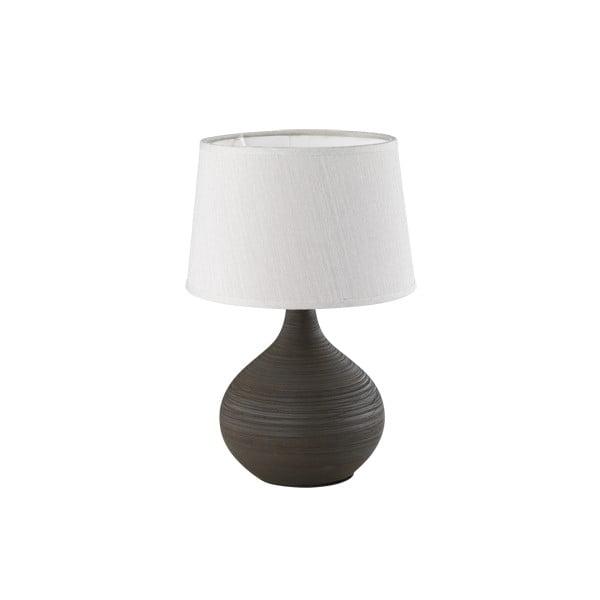 Tmavě hnědá stolní lampa z keramiky a tkaniny Trio Martin, výška 29 cm