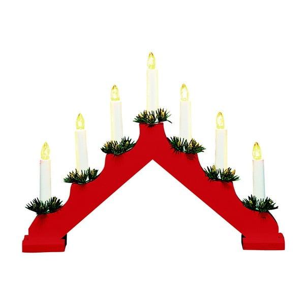 Červený dřevěný svítící svícen Markslöjd Ola, výška 30 cm