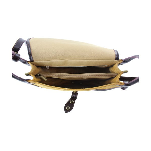 Kožená kabelka přes rameno Gina, hnědá