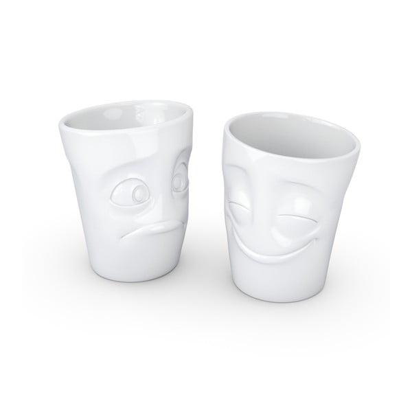 Sada 2 bílých hrnků z porcelánu 58products Cheery & Baffled