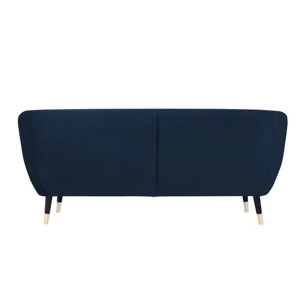 Tmavě modrá třímístná pohovka s černými nohami Mazzini Sofas Amelie