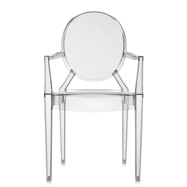 Plastová židle Kartell Louis Ghost, kouřově šedá