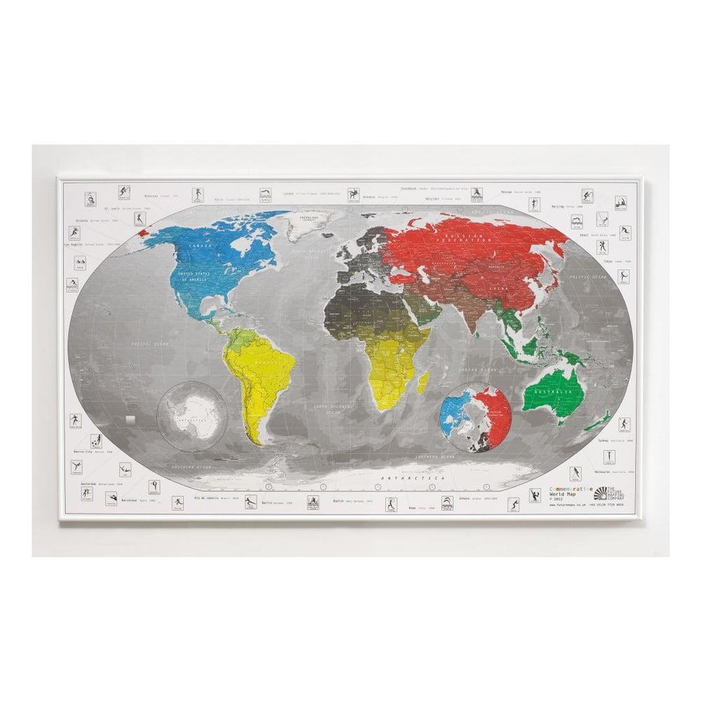 Mapa světa v průhledném pouzdru Commemorative World Map, 101x60cm