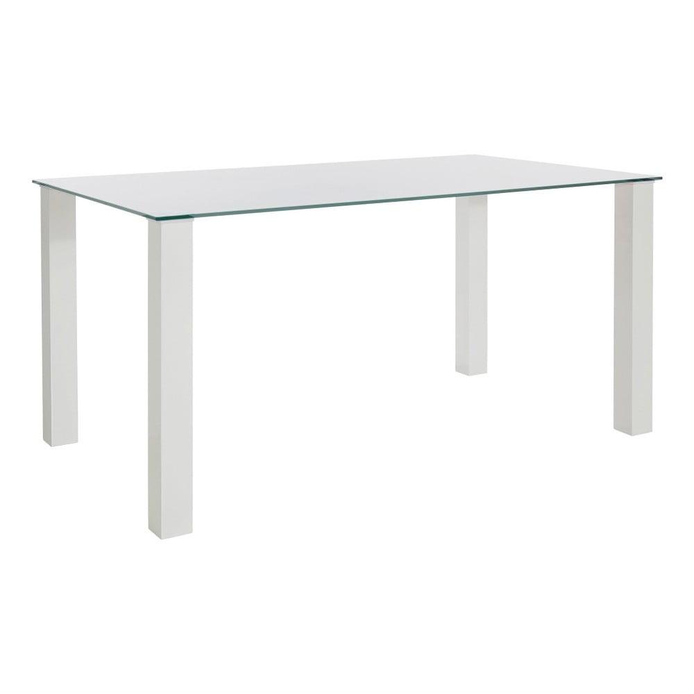Lesklý bílý jídelní stůl s deskou z tvrzeného skla Støraa, 90 x 160 cm
