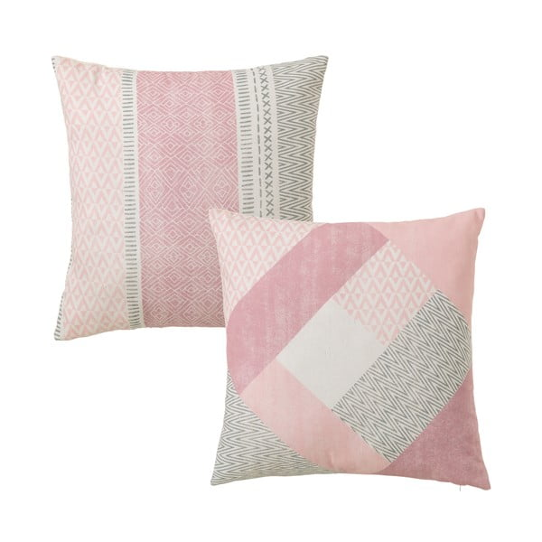 Sada 2 růžových polštářů z bavlny Unimasa Cube, 45 x 45 cm