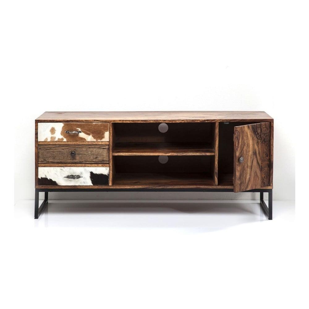 TV komoda Kare z palisandrového dřeva a koženými detaily Design Rodeo, délka140cm