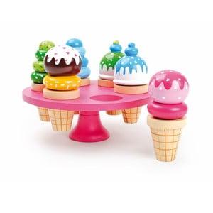 Set 6 dřevěných  zmrzlin se stojanem Legler Waffle Ice Cream
