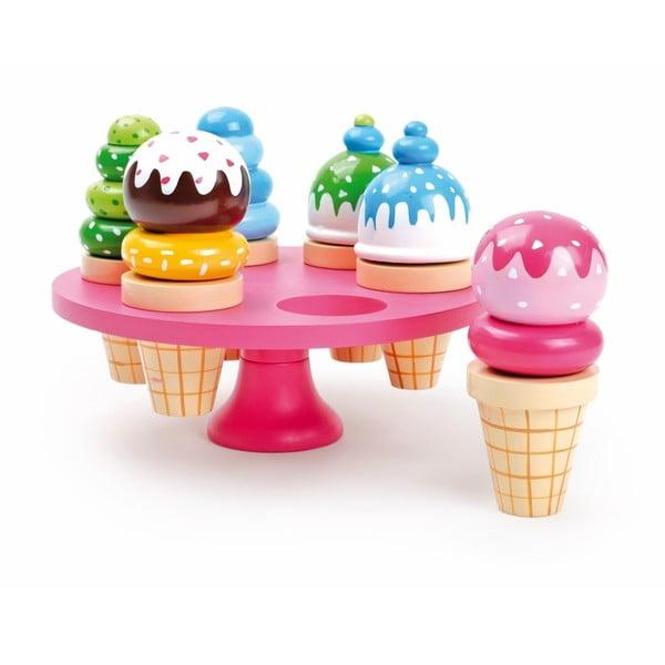 Waffle Ice Cream 6 db-os fa fagylaltszett állvánnyal - Legler