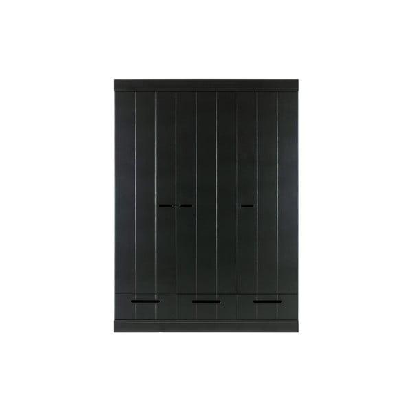 Černá šatní skříň s konstrukcí z borovicového dřeva WOOOD Connect,šířka140cm