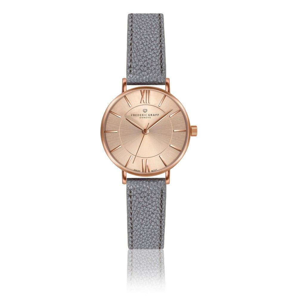 Dámské hodinky s páskem z pravé kůže v šedé barvě Frederic Graff Shispare