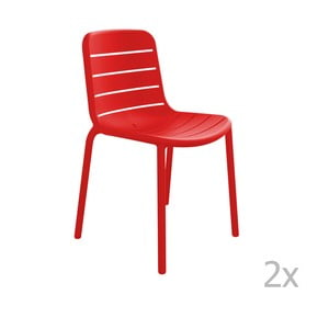 Sada 2 červených  zahradních židlí Resol Gina