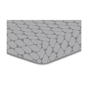 Cearșaf cu elastic, din microfibră DecoKing Rhombuses, 140 x 200 cm, gri