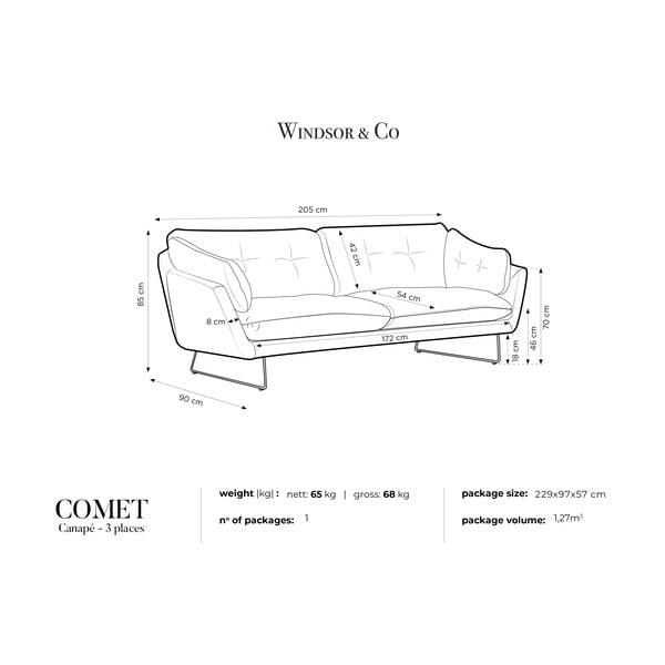 Šedohnědá třímístná pohovka Windsor & Co Sofas Comet